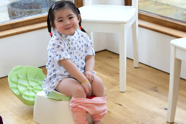 3. Place the potty where your child can easily get to it when she has to go