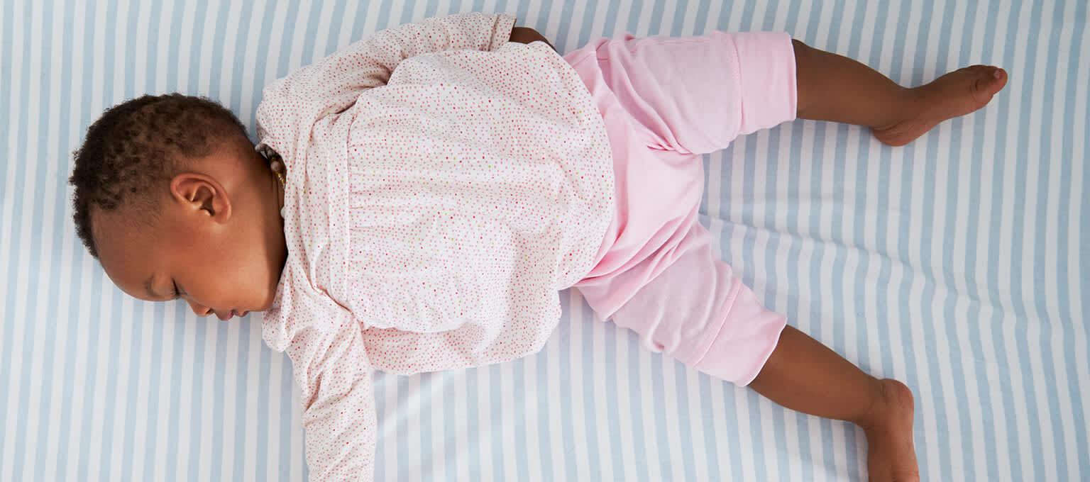 Baby sleeping on back to reduce risk of SIDS
