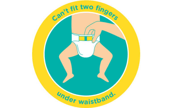If you can't fit two fingers underneath the nappy waistband, it is too small