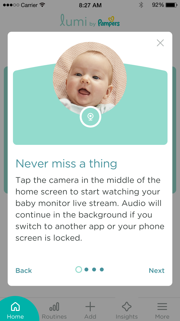 Tap the camera in the middle of the home screen to start watching your baby monitor live stream.  Audio will continue in the background if you switch to another app or your phone screen is locked.