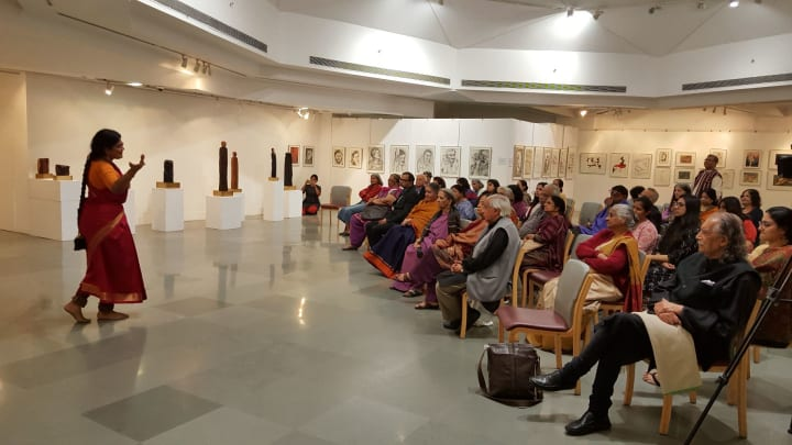 Geeta Chandran performs at the launch of The Promise of Beauty and Why It Matters