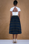 Navy Gathered Skirt in African Handwoven Cotton 1