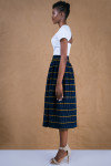 Navy Gathered Skirt in African Handwoven Cotton 2
