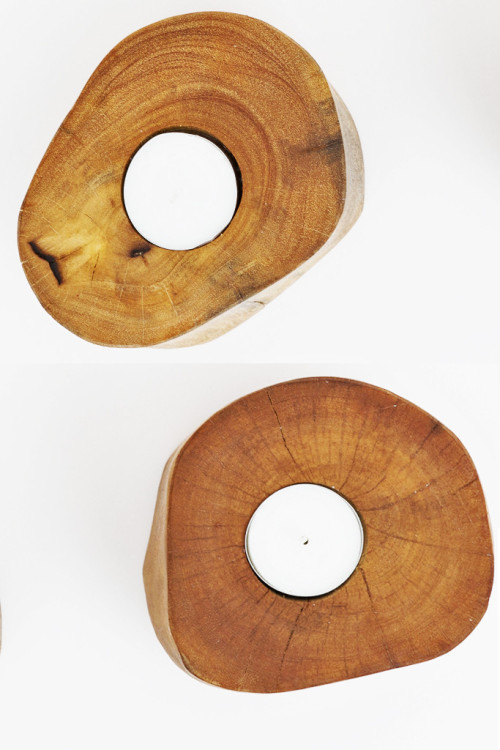 Natural Wooden Tealight Holder Set 3