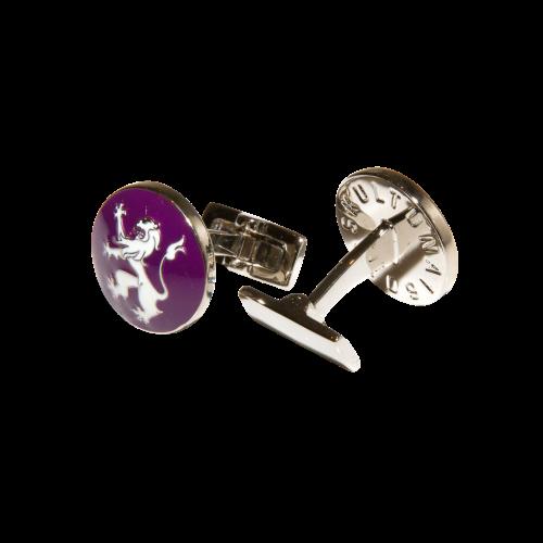 Skultuna Rampant Lion - Purple/Whit Cufflinks 1