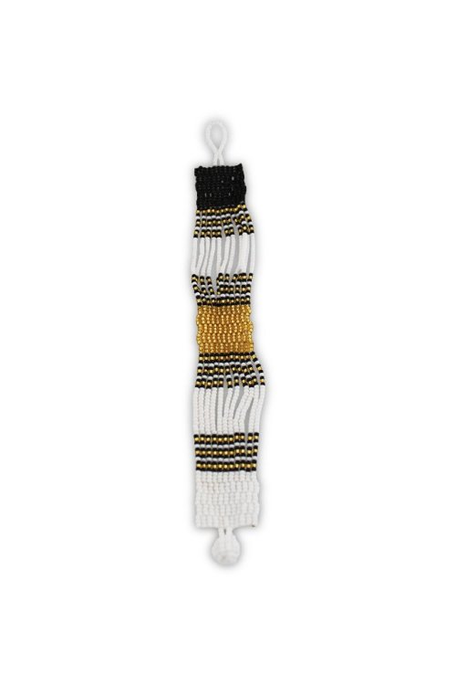 Ndebele Beaded Cuff - White & Gold 1