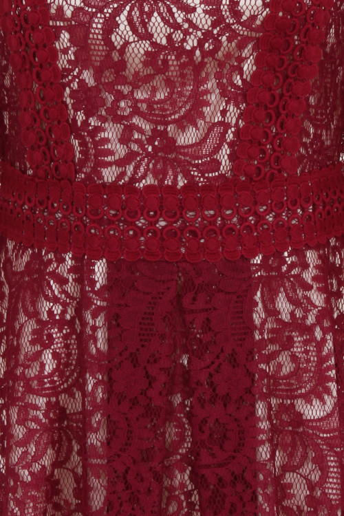 CROCHET TRIMMED LACE DRESS - WINE 4