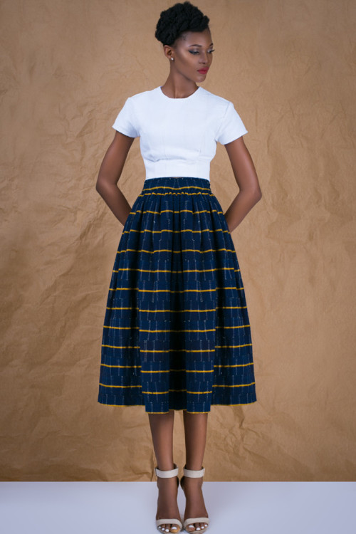 Navy Gathered Skirt in African Handwoven Cotton 3