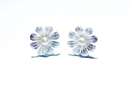 Sterling Silver & Freshwater Pearl Daisy Stud Earrings 1