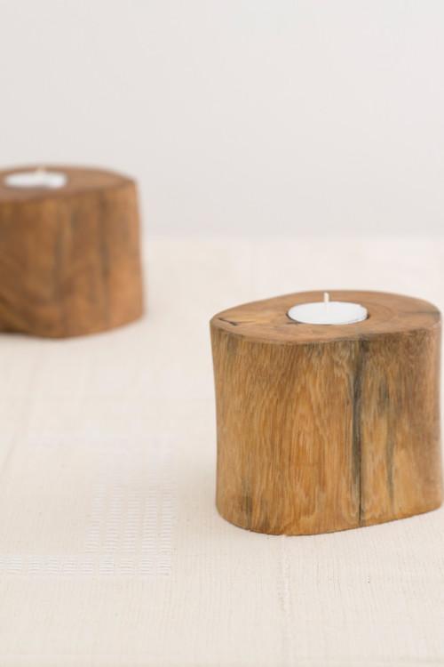 Natural Wooden Tealight Holder Set 2