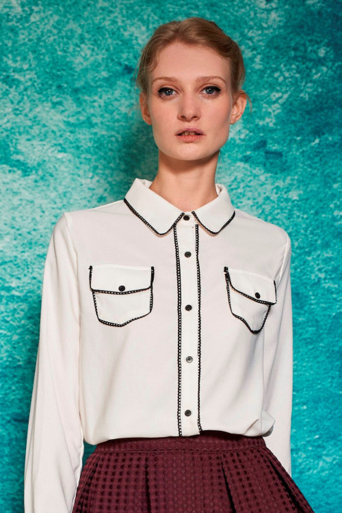 ENVELOPE POCKET CHIFFON BLOUSE - IVORY 5