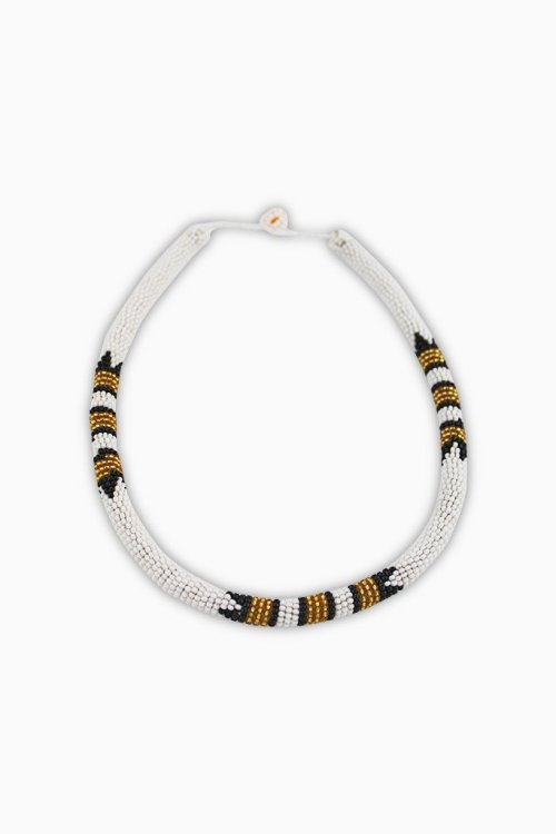 Ndebele Beaded Cuff - White & Gold 2