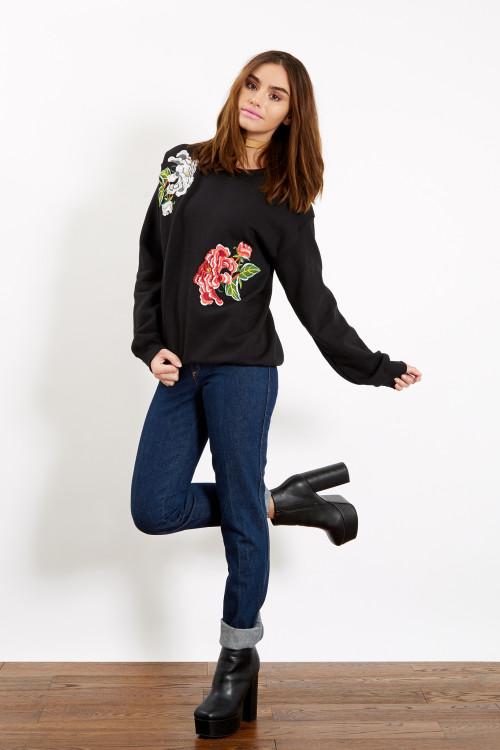 Black Floral Patched Sweatshirt Sizes XS S M L 1