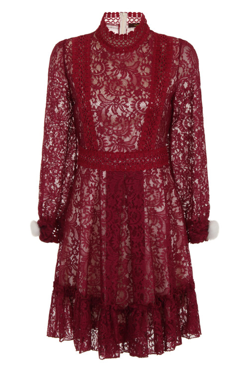 CROCHET TRIMMED LACE DRESS - WINE 3