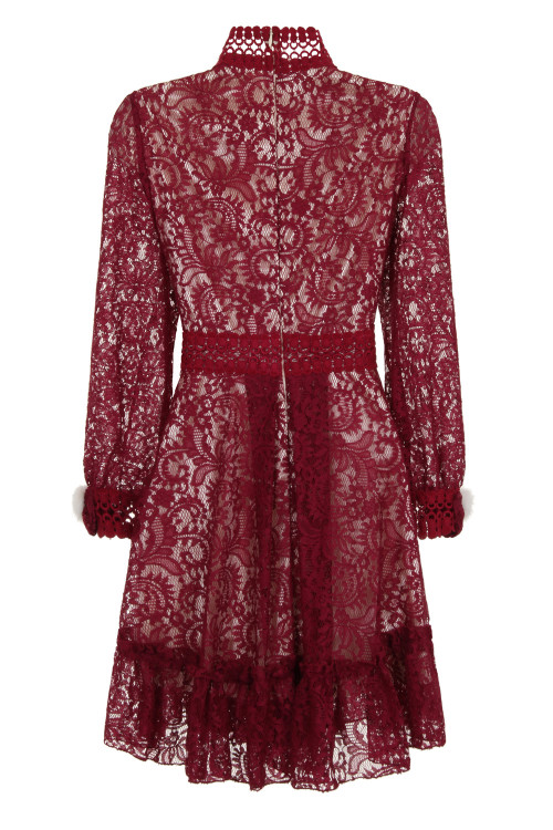 CROCHET TRIMMED LACE DRESS - WINE 5