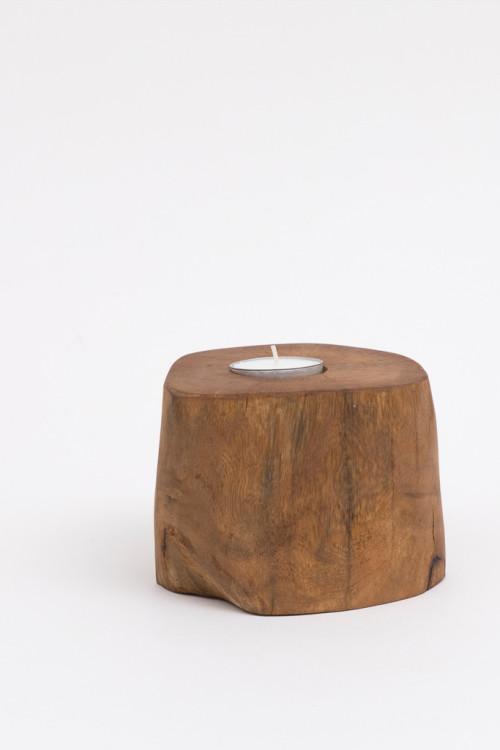 Natural Wooden Tealight Holder Set 1
