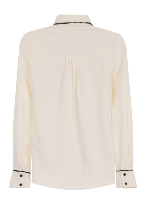 ENVELOPE POCKET CHIFFON BLOUSE - IVORY 3
