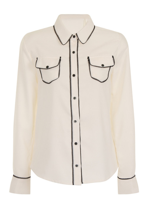 ENVELOPE POCKET CHIFFON BLOUSE - IVORY 4