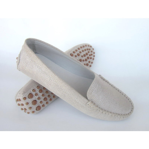 Beige  Sparkle Leather Driving Shoe Image