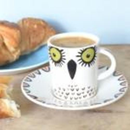 HANNAH TURNER GREEN AND ORANGE BIRDY ESPRESSO CUP AND SAUCER Image
