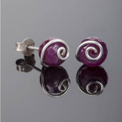 Silver Ruby Stud Earrings Image