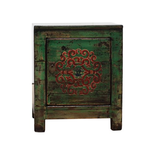Small Green Chinese Cabinet - Endless Knot - Right Side Hinge Image