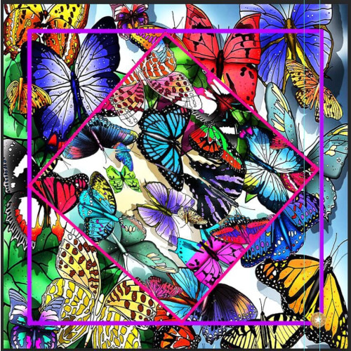 Silk Twill Scarf , Summer Butterflies Image