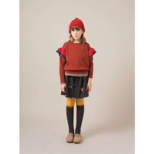 Bobo Choses Ruffles Knitted Jumper is Dusty Cedar Red Image
