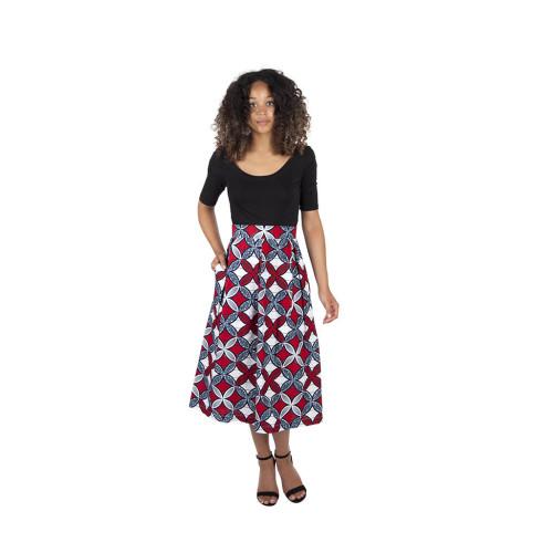 Midi Length Red & White Geometric Print Skirt Image