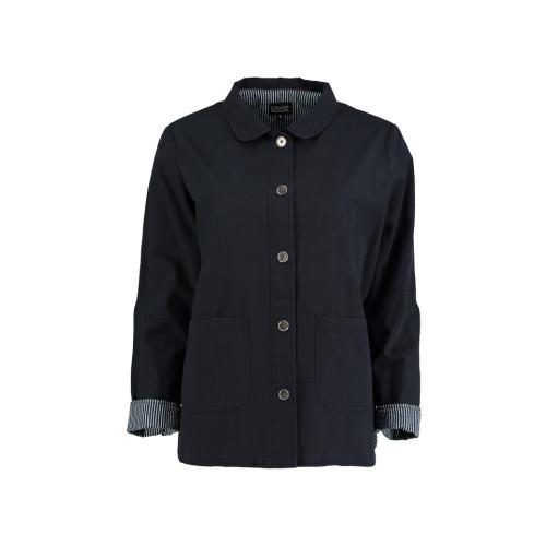 Cotton Work Wear Jacket in Black Rip Stop by Lowie Image