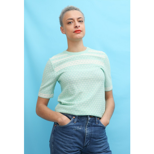 60s Vintage Mint Green Mod Knit Top Image