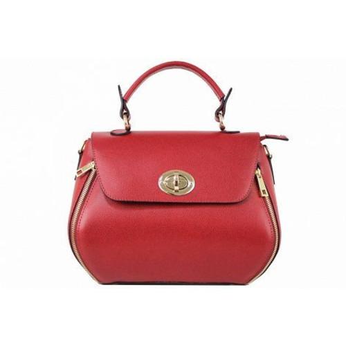 Carolina, Red Leather Handbag, Made in Italy Image