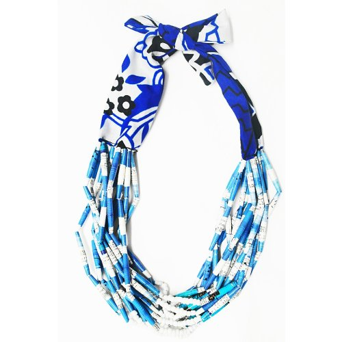 Multi-strand Fabric and Paper Bead Necklace - Blue Image