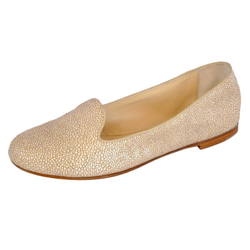 Beige Sparkle Leather Smoking Slippers Image