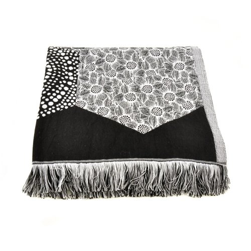 Black and White Woven Linen Throw Image