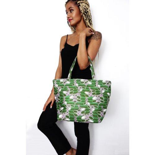 Green African Print Tote Bag Image