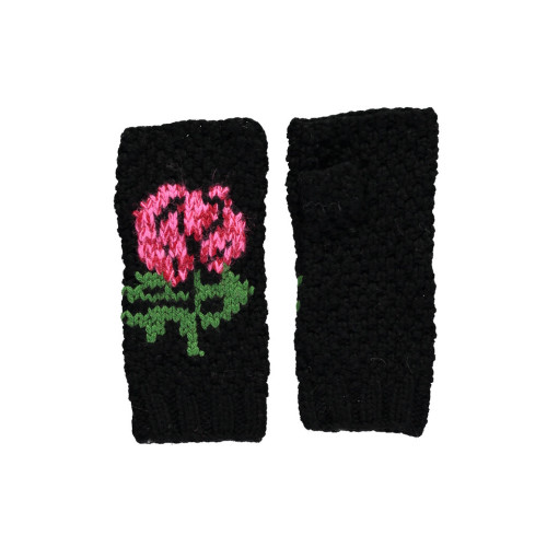 Black Russian Flower Fingerless Gloves Image