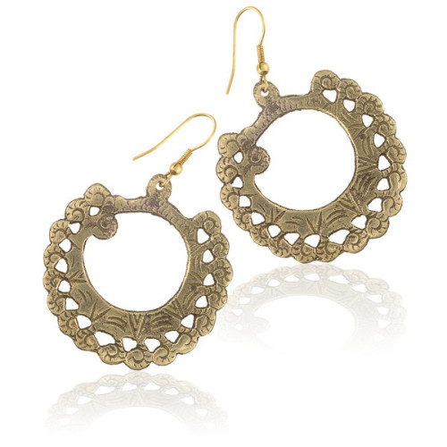 Brass Earrings With Etchings Image