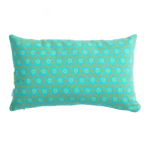 Tulip Citronelle/Berlin Turquoise Hand-Printed Cotton Cushion Image