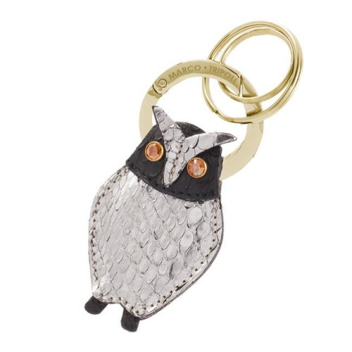 Cicci , the owel , real leather keyring and charm , made in Italy Image