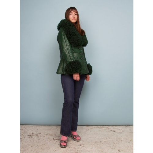 1970'S NAPPA LEATHER & SHEARLING FOREST GREEN JACKET Image