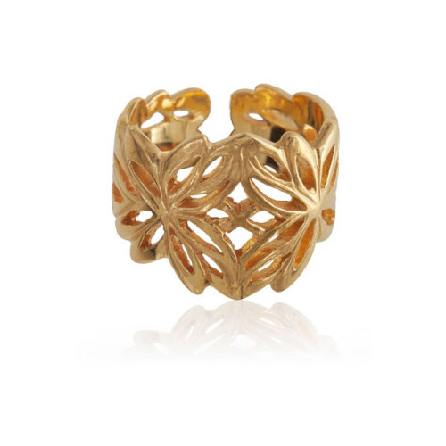 18k Gold Plated Silver Ring Inspired By The Lotus Flower Image