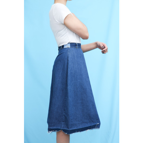 70s Vintage Denim High Waist Flared Skirt Image