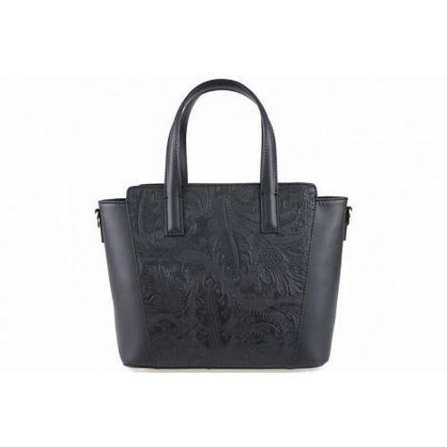 Greta , Real Leather Handbag , Made in Italy , Black Image