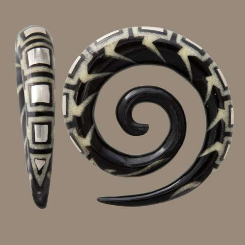 Spiral Ear Stretcher with set Silver and Bone Inlays Image