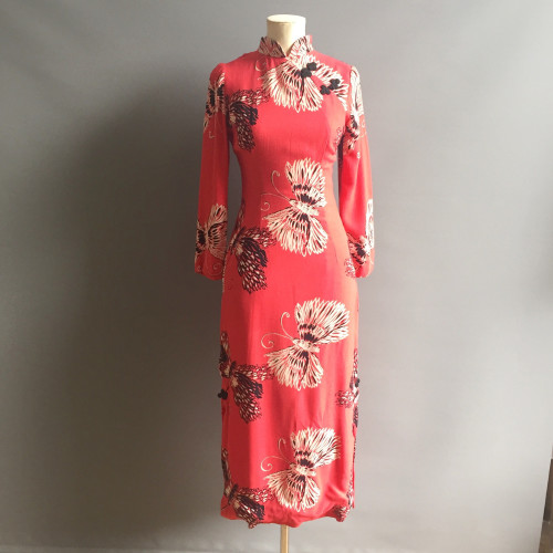 1940's Coral Print Crepe Dress Image