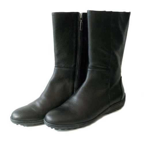 Black Leather Boots - Calf Length with Zip Image