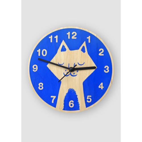 Blue Cat Clock by Lisa Jones Image