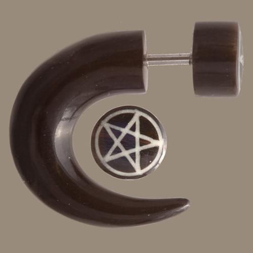 Las Dalias Fake Gauge Earring with Bone Inlaid Image