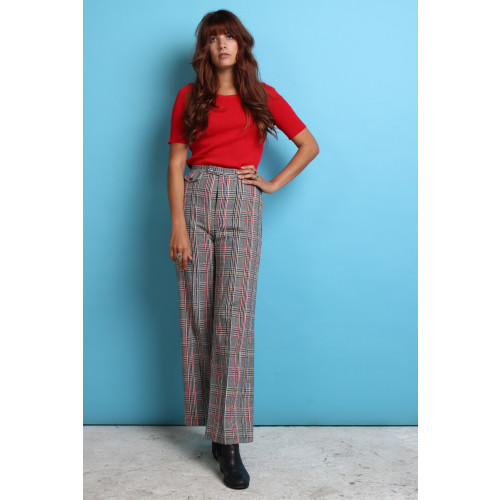 70s Vintage Check Flared Trousers Image